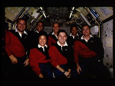 STS-65 crew poses for onboard (inflight) portrait in IML-2 spacelab module