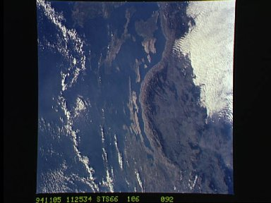 Dinaric Alps as seen from STS-66 Atlantis