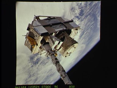 CRISTA-SPAS payload on the STS-66 shuttle Atlantis RMS arm