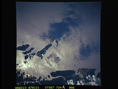 Sunglint over Andaman Sea as seen from STS-67 Endeavour
