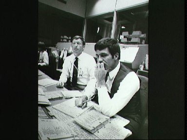 View of activity in the Mission Control Center during STS 41-D
