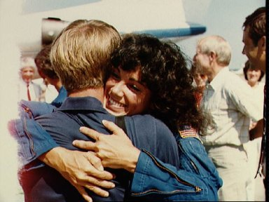 Astronaut Judith Resnik is greeted by family at end of 41-D mission