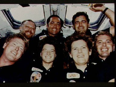 STS 41-G crew photo taken on the flight deck of the Challenger during flight