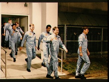 STS 51-G crewmembers depart KSC's operations and checkout building