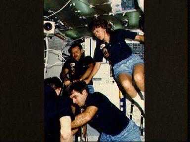 Four STS 51-G crewmembers on Discovery's middeck