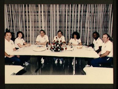 Crewmembers of the STS 51-L mission at pre-launch breakfast