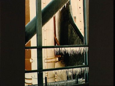View of ice on the launch complex