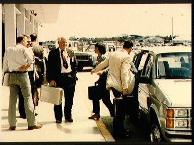 Members of the Presidential commission on Challenger accident arrive at KSC