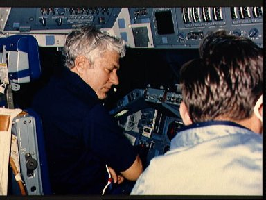 Astronauts Hartsfield and Nagel on the forward flight deck