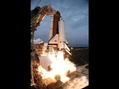 The Space Shuttle Columbia clears the tower to begin the mission. The liftoff occurred on schedule at 3:18:00 p.m. (EST), February 22, 1996.