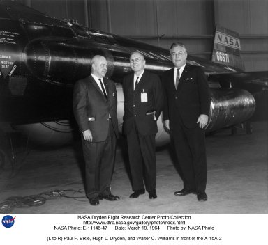 Paul F. Bikle, Hugh L. Dryden, and Walter C. Williams (viewer's left to right) stand in front of the recently repaired and modified X-15A-2 that later flew to Mach 6.7 on 3 October 1967. At the time of the photo (19 March 1964), Paul Bikle was the Director of the NASA Flight Research Center (FRC) at Edwards, Calif.; Hugh Dryden was the Deputy Administrator of NASA (in whose honor the Flight Research Center was renamed the Hugh L. Dryden Flight Research Center in March 1976); and Walt Williams was the Deputy Associate Administrator in the Office of Manned Space Flight at NASA Headquarters. Williams had been the first Chief of the High-Speed Flight Station (HSFS), as the FRC was named when the X-15 program began. He was succeeded by Bikle in 1959 after the first flight of the X-15 had taken place from the HSFS.