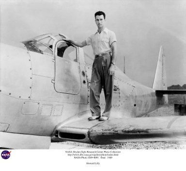 In August 1947, Howard Clifton Lilly became the first permanently assigned NACA engineering test pilot at the National Advisory Committee for Aeronautics' Muroc Flight Test Unit at what later became Edwards Air Force Base in California. During his assignment at Muroc, he flew both the XS-1 rocket research aircraft and the D-558-1 jet-powered research airplane. On 31 March 1948, Lilly became the third pilot to exceed the speed of sound in the XS-1. Lilly died on 3 May 1948 when the Douglas D-558-1 Skystreak he was flying crashed on takeoff. As the airplane climbed, somewhere within the jet engine's compressor section, a component failed. Sections of the compressor housing and blades cut through the engine casing and the fuselage skin. Some pieces cut the main fuel lines and severed the craft's control lines as well. Lilly had no control over the plane, which wallowed along for a few seconds before slipping into a left yaw and roll, then diving into the Rogers Dry Lakebed and exploding. He became the first NACA test pilot to be killed in the line of duty. At the time of his death, he had flown the Skystreak to a higher Mach number than it had previously reached-Mach 0.88 at 36,000 feet on 29 April 1948. Lilly had trained as a Naval aviator and joined the NACA at Langley Memorial Aeronautical Laboratory in Virginia (later, Langley Research Center) in October 1942. In May 1943 he was assigned to the Lewis Flight Propulsion Laboratory in Cleveland, Ohio (today's Glenn Research Center), where he flew numerous airplanes in flight research on powerplant systems. He then transferred to Muroc (later, NASA's Dryden Flight Research Center). A native of West Virginia, Lilly was 31 at the time of his death. In honor of the NACA test pilot, the road leading to the Dryden Flight Research Center was named Lilly Avenue. The NACA was a predecessor of the National Aeronautics and Space Administration, which came into existence on 1 October 1958.