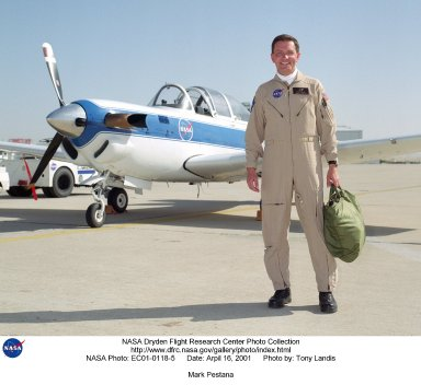 Mark Pestana is a research pilot and project manager at the NASA Dryden Flight Research Center, Edwards, Calif. He is a pilot for the Beech B200 King Air, the T-34C and the Predator B. He flies the F-18 Hornet as a co-pilot and flight test engineer. Pestana has accumulated more than 4,000 hours of military and civilian flight experience. He was also a flight engineer on the NASA DC-8 flying laboratory. Pestana was the project manager and pilot for the Hi?rate Wireless Airborne Network Demonstration flown on the NASA B200 research aircraft. He flew B200 research missions for the X-38 Space Integrated Inertial Navigation Global Positioning System experiment. Pestana also participated in several deployments of the DC-8, including Earth science expeditions ranging from hurricane research over the Caribbean Sea to ozone studies over the North Pole, atmospheric chemistry over the South Pacific, rain forest health in Central America, Rocky Mountain ice pack assessment, and volcanic and tectonic activity around the Pacific Rim. He came to Dryden as a DC-8 mission manager in June 1998 from NASA Johnson Space Center, Houston, where he served as the Earth and Space Science discipline manager for the International Space Station Program at Johnson. Pestana also served as a flight crew operations engineer in the Astronaut Office, developing the controls, displays, tools, crew accommodations and procedures for on-orbit assembly, test, and checkout of the International Space Station. He led the analysis and technical negotiations for modification of the Russian Soyuz spacecraft as an emergency crew return vehicle for space station crews. He joined the U.S. Air Force Reserve in 1991 and held various positions as a research and development engineer, intelligence analyst, and Delta II launch vehicle systems engineer. He retired from the U.S. Air Force Reserve with the rank of colonel in 2005. Prior to 1990, Pestana was on active duty with the U.S. Air Force as the director of mission 
