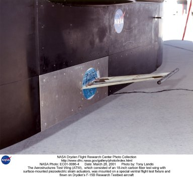 A flight experiment called conducted at NASA's Dryden Flight Research Center, Edwards, Calif., successfully demonstrated a new software data analysis tool, the flutterometer, which is designed to increase the efficiency of flight flutter testing. The photo shows the experiment, which consisted of an 18-inch carbon fiber test wing with surface-mounted piezoelectric strain actuators. The test wing was mounted on a special ventral flight test fixture and flown on Dryden's F-15B Research Testbed aircraft. Five flights consisted of increasing speeds and altitudes leading to the final test point of Mach .85 at an altitude of 10,000 feet. At each Mach and altitude, stability estimations of the wing were made using accelerometer measurements in response to the piezoelectric actuator excitation. The test wing was intentionally flown to the point of structural failure, resulting in about a third of the 18-inch wing breaking off. This allowed engineers to record the effectiveness of the flutterometer over the entire regime of flutter testing, up to and including structural failure. Research objectives of the ATW experiment included validation of the new flutterometer, validation of aerodynamic load predictions on the test wing, and analytical strain gage calibration techniques.