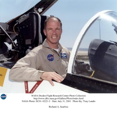 Richard A. Searfoss became a research pilot in the Flight Crew Branch of NASA's Dryden Flight Research Center, Edwards, Calif., in July 2001. He brought to Dryden more than 5,000 hours of military flying time and 939 hours in space. Searfoss served in the U.S. Air Force for more than 20 years, retiring with the rank of colonel. Following graduation in 1980 from Undergraduate Pilot Training at Williams Air Force Base, Ariz., Searfoss flew F-111s at RAF Lakenheath, England, and Mountain Home Air Force Base, Idaho. In 1988 he attended the U.S. Naval Test Pilot School, Patuxent River, Md., as a U.S. Air Force exchange officer. He was an instructor pilot at the U.S. Air Force Test Pilot School, Edwards Air Force Base, Calif., when selected for the astronaut program in January 1990. Searfoss became an astronaut in July 1991. A veteran of three space flights, Searfoss has logged 39 days in space. He served as STS-58 pilot on the seven-person life science research mission aboard Space Shuttle Columbia, launching from NASA's Kennedy Space Center, Fla., on Oct. 18, 1993, and landing at Edwards Air Force Base, Calif., on Nov. 1, 1993. The crew performed a number of medical experiments on themselves and 48 rats, expanding knowledge of human and animal physiology. Searfoss flew his second mission as pilot of STS-76 aboard the Space Shuttle Atlantis. During this nine-day mission, which launched March 22, 1996, the crew preformed the third docking of an American spacecraft with the Russian space station Mir. The crew transported to Mir nearly two tons of water, food, supplies, and scientific equipment, as well as U.S. Astronaut Shannon Lucid to begin her six-month stay in space. Completing 145 orbits, STS-76 landed at Edwards Air Force Base, Calif., on March 31, 1996. Searfoss commanded a seven-person crew on the STS-90 Neurolab mission launched on April 17, 1998. The crew served as both experiment subjects and operators for life science experiments focusing on the effects of micr