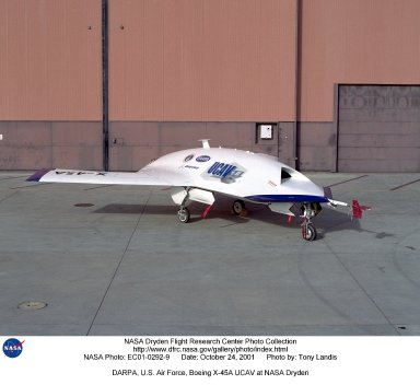 DARPA, U.S. Air Force, Boeing X-45A UCAV (Unmanned Combat Air Vehicle) at NASA Dryden Flight Research Center.