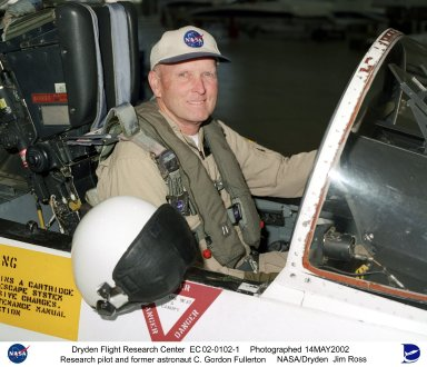 Former NASA astronaut C. Gordon Fullerton, seated in the cockpit of an F/A-18, is a research pilot at NASA's Dryden Flight Research Center, Edwards, Calif. Since transferring to Dryden in 1986, his assignments have included a variety of flight research and support activities piloting NASA's B-52 launch aircraft, the 747 Shuttle Carrier Aircraft (SCA), and other multi-engine and high performance aircraft. He flew a series of development air launches of the X-38 prototype Crew Return Vehicle and in the launches for the X-43A Hyper-X project. Fullerton also flies Dryden's DC-8 Airborne Science aircraft in support a variety of atmospheric physics, ground mapping and meteorology studies. Fullerton also was project pilot on the Propulsion Controlled Aircraft program, during which he successfully landed both a modified F-15 and an MD-11 transport with all control surfaces neutralized, using only engine thrust modulation for control. Fullerton also evaluated the flying qualities of the Russian Tu-144 supersonic transport during two flights in 1998, one of only two non-Russian pilots to fly that aircraft. With more than 15,000 hours of flying time, Fullerton has piloted 135 different types of aircraft in his career. As an astronaut, Fullerton served on the support crews for the Apollo 14, 15, 16, and 17 lunar missions. In 1977, Fullerton was on one of the two flight crews that piloted the Space Shuttle prototype Enterprise during the Approach and Landing Test Program at Dryden. Fullerton was the pilot on the STS-3 Space Shuttle orbital flight test mission in 1982, and commanded the STS-51F Spacelab 2 mission in 1985. He has logged 382 hours in space flight. In July 1988, he completed a 30-year career with the U.S. Air Force and retired as a colonel.