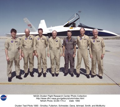 310,000 feet. Bill was the pilot on the final (199th) flight of the 10-year program. Other research and support programs Dana participated in were the F-15 Highly Integrated Digital Electronic Control (HIDEC), the F-18 High Angle-of-Attack Research Vehicle (HARV), YF-12, F-104, F-16, PA-30, and T-38. In 1993 Dana became Chief Engineer at NASA?s Ames-Dryden Flight Research Facility (soon to be renamed the Dryden Flight Research Center). Ishmael was a research pilot at NASA?s Dryden Flight Research Center from January 1977 until the spring of 1995, when he became manager of Dryden?s Reusable Launch Vehicle (RLV) programs. In 1996 he became NASA?s X-33 Deputy Manager for Flight Test and Operation. As a research pilot he served as the chief project pilot on two major aeronautical research programs, the SR-71 High Speed Research program and the F-16XL Laminar Flow Technology program. He took part in the X-29 Forward-Swept-Wing program, and gave support to other pilots? research flights in a T-38 and F-104 aircraft. Smith became a research pilot at NASA?s Ames-Dryden Flight Research Facility in August 1982. In the spring of 1995 he became Chief of the Flight Crew Branch where currently there are 8 other NASA pilots and 2 flight engineers. Smith has also been a co-project pilot on two major aeronautical programs at Dryden. They are the integrated thrust vectoring F-15 ACTIVE and the SR-71 ?Blackbird? Research programs. Other research programs that he has been associated with are the F-104 Zero ?G? tests, F-18 HARV, X-29 Forward-Swept-Wing, with support flights being flown in a T-38 and F-104. McMurtry has been a pilot at NASA?s Dryden since joining the Flight Research Center in November 1967. In 1981, Tom became Chief Pilot a position he held until February 1986, when he was appointed Chief of the Research Aircraft Operations Division. McMurtry has been project pilot for the AD-1 Oblique Wing program, the F-15 Digital Electronic Engine Control (DEEC) project and the F-8 Su