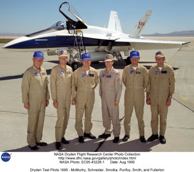 A group photo of Dryden research pilots in August 1995. They are (left to right) Thomas C. McMurtry, Edward T. Schneider, James W. Smolka, Dana D. Purifoy, Roger E. Smith, and C. Gordon Fullerton.