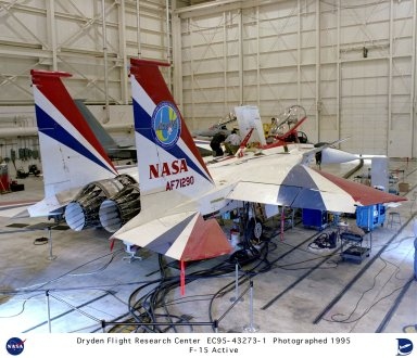 Operational checks of the flight control and instrumentation systems on the F-15 ACTIVE (Advanced Control Technology for Integrated Vehicles), are seen here being conducted Sept. 18, 1995, in a test bay in the Integrated Test Facility (ITF) at NASA's Dryden Flight Research Center, Edwards, California. A key feature of the ACTIVE research project is the evaluation of thrust vectoring nozzles, developed by Pratt and Whitney, that could enhance high-angle of attack control and maneuverability on future aircraft.