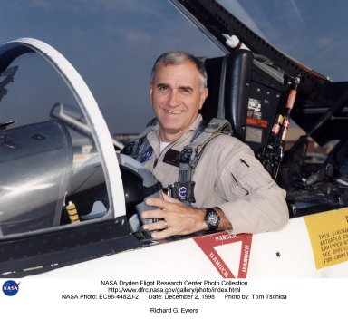 Richard G. (Dick) Ewers became a pilot in the Flight Crew Branch of NASA's Dryden Flight Research Center, Edwards, California, in May 1998. His flying duties focus on operation of the Airborne Science DC-8 and Systems Research F/A-18 aircraft, but he also maintains qualifications in the King Air and T-34C. He has more than 32 years and nearly 9,000 hours of military and civilian flight experience in all types of aircraft from jet fighters to blimps. Ewers came to NASA Dryden from a position as an engineering test pilot with Northrop Grumman's Electronic Sensors and Systems Division (formerly Westinghouse's Electronic Systems Group). He spent eight and a half years with Westinghouse flight testing radar and forward looking infrared systems under development for military and civilian use. Before going to work for Westinghouse, Ewers served for more than 21 years as a U.S. Marine Corps fighter and test pilot, flying F-4, A-4, and F/A-18 aircraft. He underwent flight training at Naval Air Station Pensacola, Fla., in 1969-70. He was subsequently assigned to both fighter/attack and reconnaissance squadrons before ultimately commanding an F-4S squadron for two years. Additionally, his flying included combat service in Vietnam and operational exchange tours with both U.S. Navy and U.S. Air Force squadrons flying F-4s around the world, including off aircraft carriers. Ewers graduated from the U.S. Naval Test Pilot School in 1981 and subsequently served two tours as a test pilot at the Naval Air Test Center, Patuxent River, Md. Most of his flight test experience was with the F/A-18 Hornet. He retired from the Marine Corps in 1989 with the rank of lieutenant colonel. Ewers graduated from the U.S. Air Force Academy in 1968 with a bachelor of science degree in engineering mechanics. He earned a master of science degree in aeronautical systems from the University of West Florida in 1970.