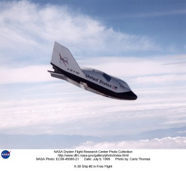 The X-38, a research vehicle built to help develop technology for an emergency Crew Return Vehicle (CRV), descends under its steerable parachute during a July 1999 test flight at the Dryden Flight Research Center, Edwards, California. It was the fourth free flight of the test vehicles in the X-38 program, and the second free flight test of Vehicle 132 or Ship 2. The goal of this flight was to release the vehicle from a higher altitude -- 31,500 feet -- and to fly the vehicle longer -- 31 seconds -- than any previous X-38 vehicle had yet flown. The project team also conducted aerodynamic verification maneuvers and checked improvements made to the drogue parachute.