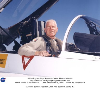 """Edwin W. Lewis Jr. is a research pilot in the Airborne Science program, Flight Crew Branch, Dryden Flight Research Center, Edwards, California. He currently flies the DC-8, F/A-18, Lear Jet 24, King Air, and T-34C in support of Dryden's flight operations and is mentor pilot for the King Air and the Lear Jet. Prior to accepting this assignment Lewis was a pilot for eight years at NASA's Ames Research Center, Moffett Field, California, flying 10 different aircraft C-130B, DC-8-72, UH-1, SH-3, King Air, Lear 24, T-38A, T-39G and YO-3A in support of NASA flight missions. Lewis also flew the Kuiper Airborne Observatory (a modified civilian version of the Lockheed C-141 Starlifter). He was project pilot for Ames' 747 and T-38 programs. Lewis was born in New York City on May 19, 1936, and began flight training as a Civil Air Patrol cadet in 1951, ultimately earning his commercial pilot's certificate in 1958. He received a bachelor of arts degree in biology from Hobart College, Geneva, N.Y., and entered the U.S. Air Force through the Reserve Officer Training Corps. Following pilot training he was assigned to Moody Air Force Base, Ga., as an instructor pilot, for both the T-33 and T-37 aircraft. He served in Vietnam in 1965 and 1966, where he was a forward air controller, instructor and standardization/evaluation pilot, flying more than 1,000 hours in the O-1 """"Bird Dog."""" Lewis separated from the regular Air Force and joined Pan American World Airways and the 129th Air Commando Group, California Air National Guard (ANG) based in Hayward, California. During his 18-year career with the California ANG he flew the U-6, U-10, C-119, HC-130 aircraft and the HH-3 helicopter. He retired as commander, 129th Air Rescue and Recovery Group, a composite combat rescue group, in the grade of colonel. During his 22 years as an airline pilot, he flew the Boeing 707, 727 and 747. He took early retirement from Pan American in 1989 to become a pilot with NASA."""