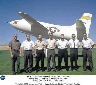 The research pilots at what in 1962 was called the Flight Research Center standing in front of the X-1E. They are (left to right) Neil Armstrong, Joe Walker, Bill Dana, Bruce Peterson, Jack McKay, Milt Thompson, and Stan Butchart. of the group, Armstrong, Walker, Dana, McKay and Thompson all flew the X-15. Bruce Peterson flew the M2-F2 and HL-10 lifting bodies, while Stan Butchart was the B-29 drop plane pilot for many of the D-558-II and X-1 series research aircraft.