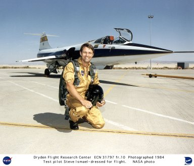 NASA research pilot Stephen D. Ishmael in front of an F-104 in this 1984 photo. Ishmael became a NASA research pilot in 1977, and during the following year began flying the F-8 Digital Fly-by-Wire aircraft. Ishmael also flew on the advanced fighter technology integration (AFTI)F-16 and the X-29 program among others. In the early 1990s, he was selected as one of two research pilots to fly the NASA SR-71s.