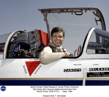 NASA research pilot Edward T. Schneider in the cockpit of an F-104. Schneider served as a U.S. Navy pilot from 1968 to 1983, during which time he trained at the U.S. Naval Test Pilot School, and received assignments as an engineering test pilot, as a test pilot school instructor, and as a Naval Liaison Officer at what was then called the Ames-Dryden Flight Research Facility (now the Dryden Flight Research Center). Schneider joined NASA as a research pilot in 1983. Over the next 17 years, he was a project pilot on the F-18 High Angle-of-Attack program, the F-15 aeronautical research aircraft, the B-52 launch aircraft, and the NASA SR-71s. He retired as a NASA research pilot in September 2000.