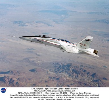 How differential deflection of the inboard and outboard leading-edge flaps affected the handling qualities of this modified F/A-18A was evaluated during the first check flight in the Active Aeroelastic Wing program at NASA's Dryden Flight Research Center.