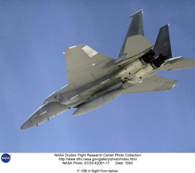 NASA's highly modified F-15, being used for digital electronic flight and engine control systems research, is seen here on a flight from the Dryden Flight Research Facility, Edwards, California. NASA's F-15B aircraft is being used by Dryden as an aerospace research aircraft. Certain experiments can be placed on a Flight Test Fixture, which is mounted under the fuselage. The research projects can then be subjected to different aerodynamic loads, speeds and temperatures. The F-15B, No. 836, was acquired in 1993 and is also used at Dryden as a research support aircraft.