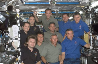 Expedition Crews Four and Five and STS-111 Crew Aboard the ISS