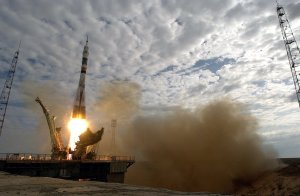 Expedition Seven Launched Aboard Soyez Spacecraft