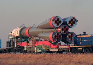 Soyuz Spacecraft Transported to Launch Pad
