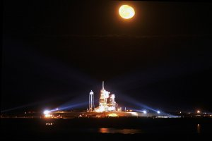 Space Shuttle Endeavour Awaits Liftoff On Moonlit Launch Pad