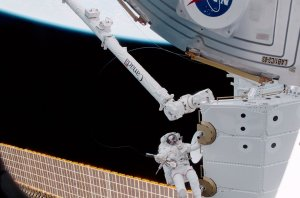 Astronaut Hadfield Near Canadarm2