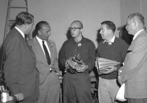 Dr. von Braun and Dr. Debus With Pioneer IV Components