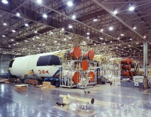 Assembly of Saturn V S-IC (First) Stages at the Michoud Assembly Facility