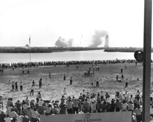 Thousands of News Reporters Watch Apollo 11 Lift Off