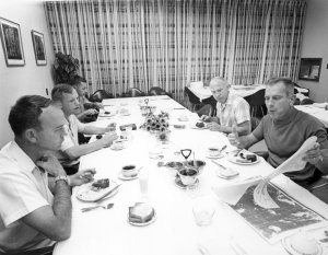 Apollo 11 Astronauts Review Lunar Charts During Breakfast