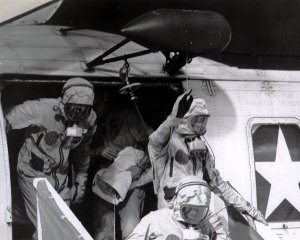 Apollo 11 Astronauts Exit Recovery Helicopter