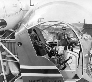 Apollo 11 Astronaut Neil Armstrong Approaches Practice Helicopter