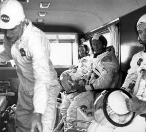 Apollo 11 Astronauts Enroute to Launchpad for Countdown Demonstration Test