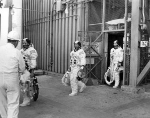 Apollo 11 Astronauts Exit Launch Pad Elevator After Countdown Demonstration Test