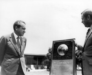 Apollo 11 Commander Armstrong Presents President With Commemorative Plaque