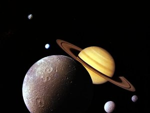 Montage of Saturnian system by Voyager 1 spacecraft