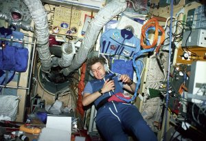 Astronaut Sharnon Lucid in Mir Space Station