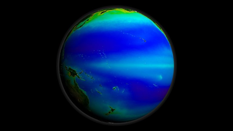 Global Rotation of SeaWiFS Biosphere Decadal Average with Land