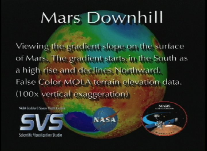 Mars Topography: Downhill showing a gradient slope (False Color)
